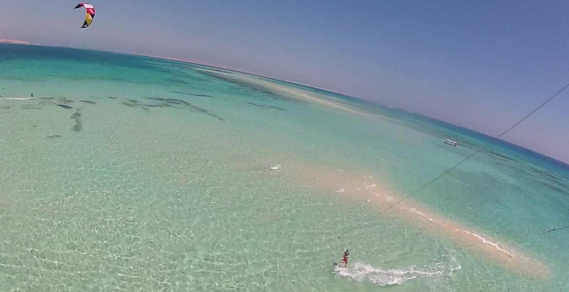 kitesurfing in hurghada from above